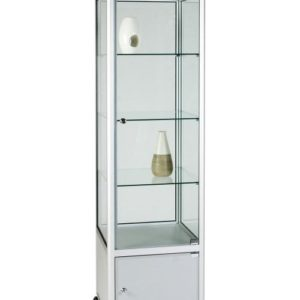 Unibox UB012 - 3/4 Display Tower Showcase with Header Panel and Storage - Standard