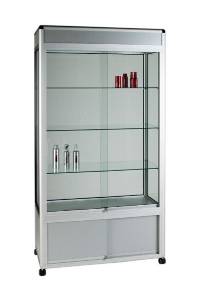 Unibox UB015 - 3/4 Display Tower Showcase with Header Panel and Storage - Wide