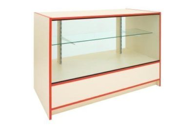 Choice Range L120cm 3/4 Glass Fronted Counter In Cream & Blue Edging - Clearance 1