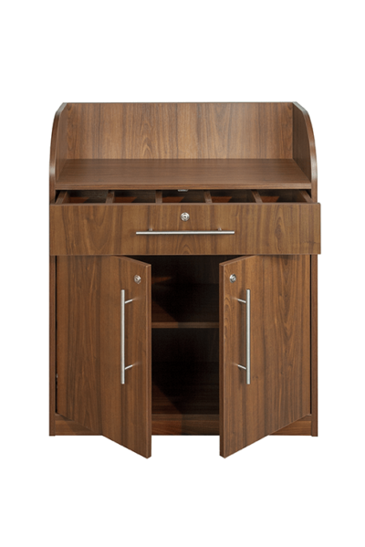 Walnut Effect Dumbwaiter - Front with Open Doors