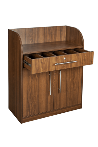 Walnut Effect Dumbwaiter - Open Drawer