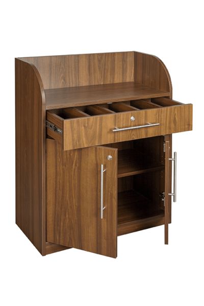 Walnut Effect Dumbwaiter - Open