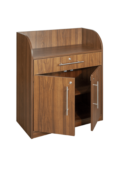 Walnut Effect Dumbwaiter - Open Doors