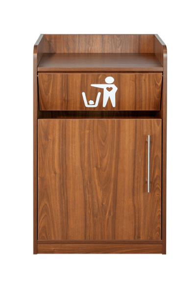 Walnut Litter Bin and Tray Stand - Front