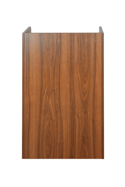 Walnut Litter Bin and Tray Stand - Rear View