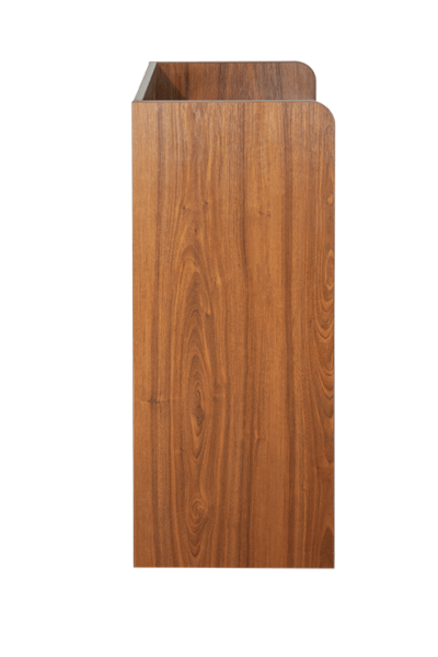Walnut Litter Bin and Tray Stand - Side View
