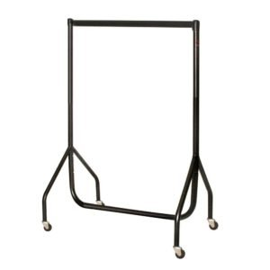 4ft Heavy Duty Junior Garment Rail - Black with Chrome Top Rail