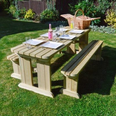 Tinwell Rounded Picnic Table And Bench Set 1