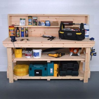 Wooden Work Bench with Back Panel 1