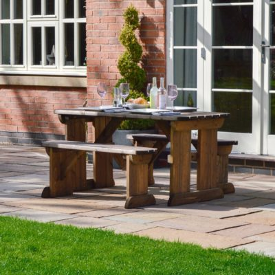 Tinwell Rounded Picnic Table And Bench Set 2
