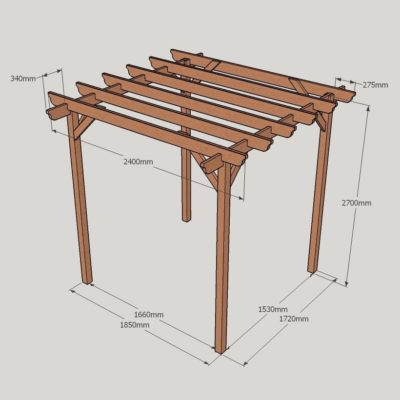 Garden Pergola – Sculpted Rafter End – 4 Post - 2.4m x 2.4m Dimensioned Drawing