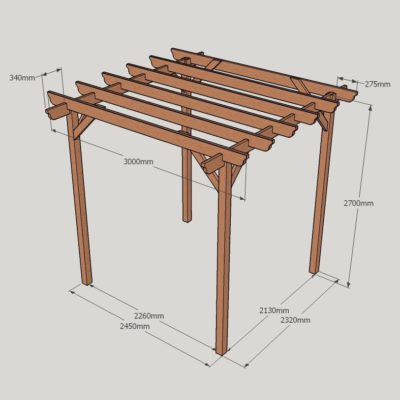 Garden Pergola – Sculpted Rafter End – 4 Post - 3.0m x 3.0m Dimensioned Drawing