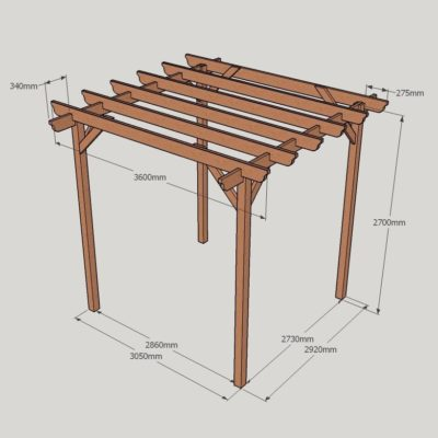 Garden Pergola – Sculpted Rafter End – 4 Post - 3.6m x 3.6m Dimensioned Drawing