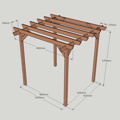 Garden Pergola – Sculpted Rafter End – 4 Post - 4.8m x 4.8m Dimensioned Drawing
