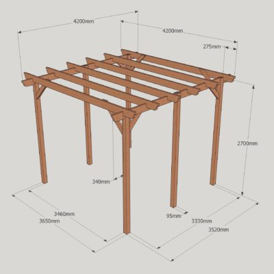 Garden Pergola – Sculpted Rafter End – 6 Post - 4.2m x 4.2m Dimensioned Drawing