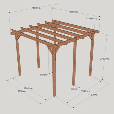 Garden Pergola – Sculpted Rafter End – 6 Post - 4.8m x 4.8m Dimensioned Drawing
