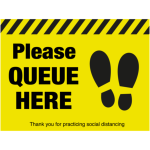 SD040 - Please Queue Here Floor Sticker