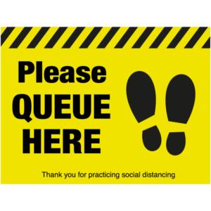 SD040 - Please Queue Here Floor Sticker
