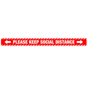 Please Keep Social Distance Red and White - 1000x85