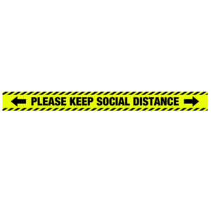 Please Keep Social Distance - Yellow and Black - 1000x85