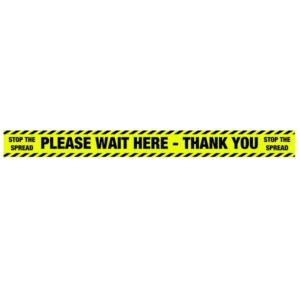 Please Wait Here Socail Distancing Floor Stickers - 1000x85