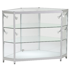R1595 R1596 Full Glass Display Aluminium Showcase Display Corner Counter
