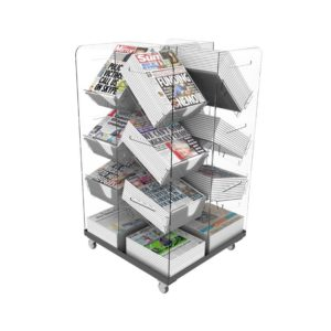 Bartuf B001007 Compact Cube Newspaper Display Stand